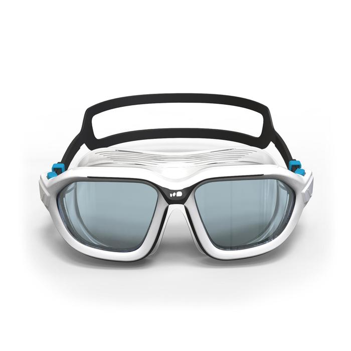 Schwimmmaske Active 500 Größe L weiß/grau ungetönte Gläser