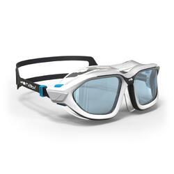 Máscara de natación 500 ACTIVE talla L Blanco Gris cristales claros