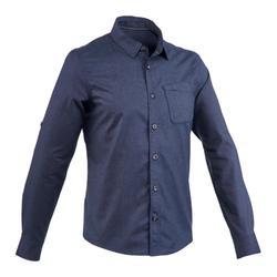 Men's Arpenaz 100 warm navy blue trekking shirt