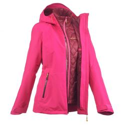 Jacket trekking Rainwarm 500 3 in1 women's pink