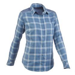 Travel 100 女性保暖健行運動襯衫 - 天藍色格紋