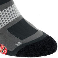 2 pairs of Forclaz 500 adult high-top hiking socks - grey and red