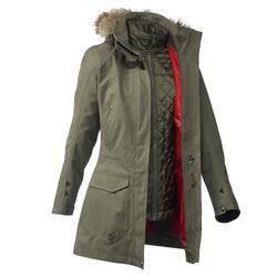 Waterdichte 3-in-1 jas voor trekking dames TT900 kaki