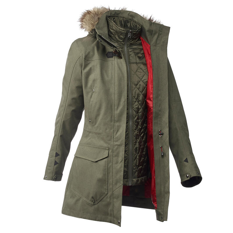 Waterdichte 3-in-1 jas voor backpacken dames comfort -10°C Travel 700 kaki