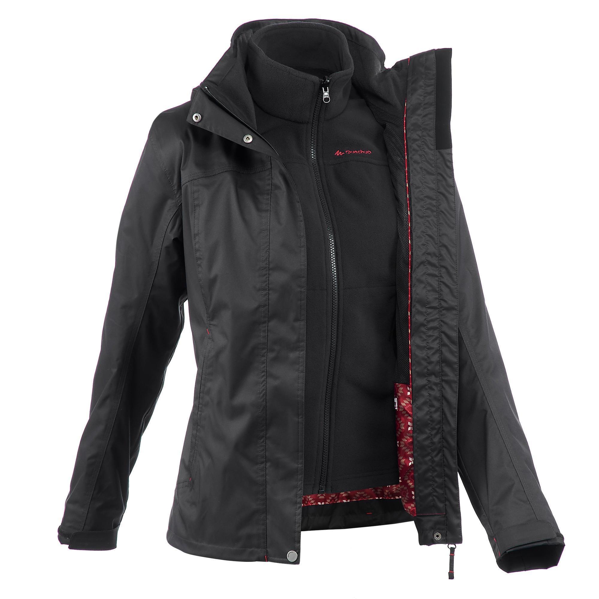 5f54c1979a 3-in-1-Jacke Rainwarm 100 Damen schwarz