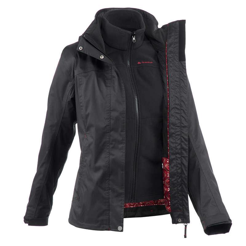 WOMEN 3 IN 1 JACKETS TRAVEL TREK - Rainwarm 100 3-in-1 Women's Waterproof Jacket - Black QUECHUA