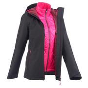 Ženska pohodniška jakna RainWarm 500, 3 v 1 – črna
