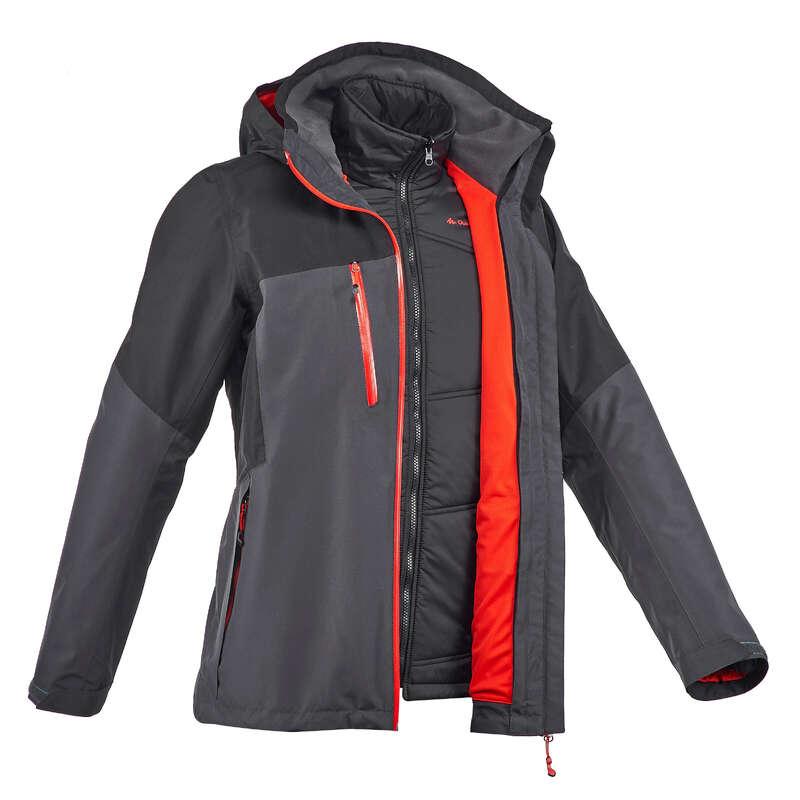 MEN 3 IN 1 JACKETS TRAVEL TREK Trekking - Rainwarm 500 3-in-1 Men's Waterproof Jacket - Black QUECHUA - Trekking