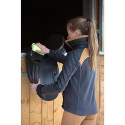 Forro polar de 2 materias equitación niño PADDOCK gris oscuro/camel