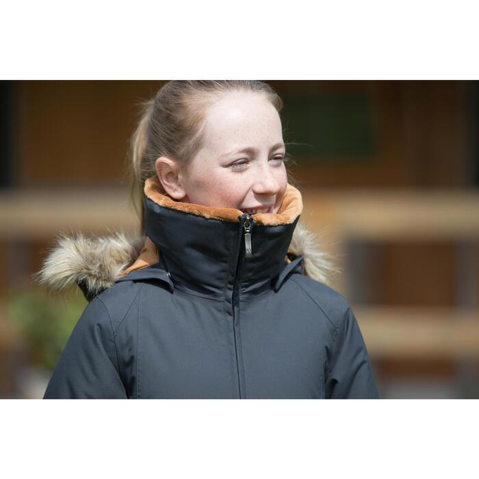 Warme en waterdichte kinderruitersport 500 Warm grijs/camel