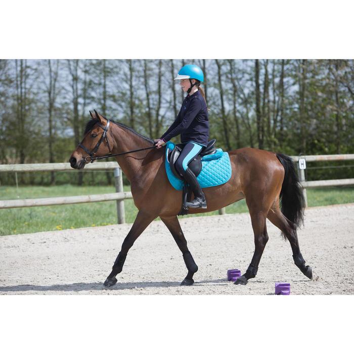Polo manches longues équitation fille bleu marine broderie HR - 1222695