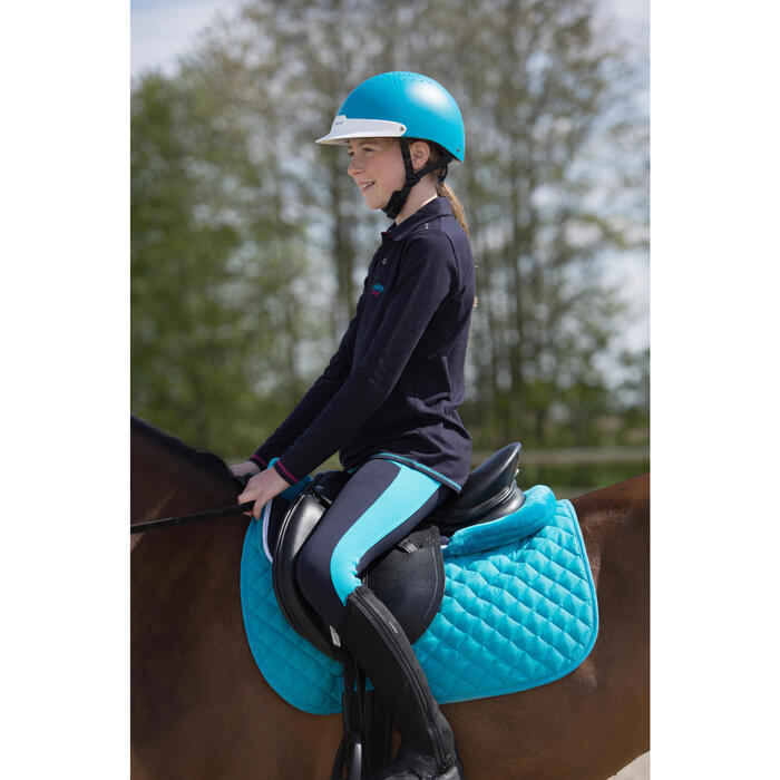 Polo manches longues équitation fille bleu marine broderie HR - 1222701