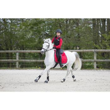 Jongenspolo Horse met lange mouwen ruitersport rood