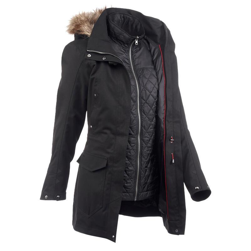 Waterdichte 3-in-1 jas voor backpacken dames comfort -10°C Travel 700 zwart