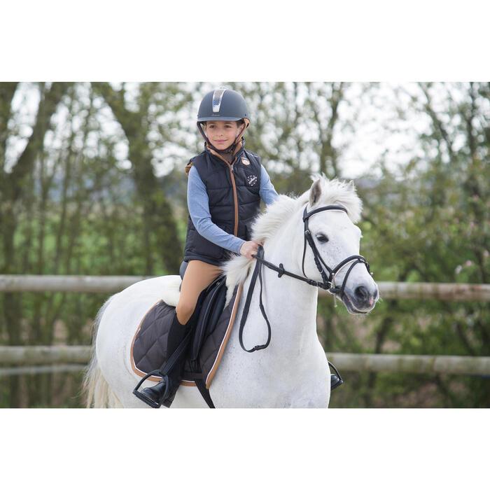 Gilet chaud équitation fille PADDOCK gris foncé et camel