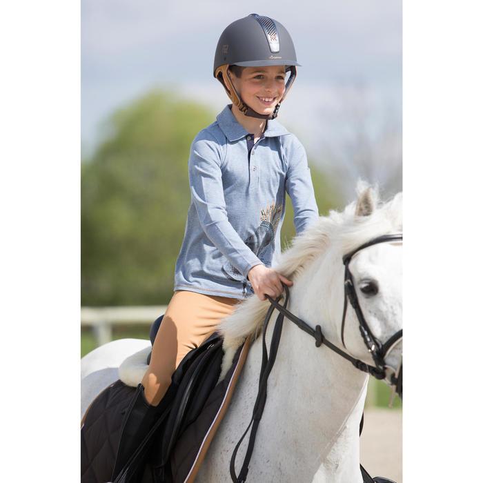 Kinderpolo met lange mouwen Indian Pony ruitersport blauwgrijs