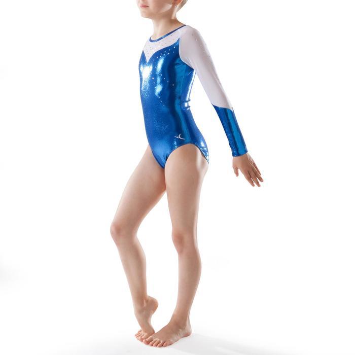 Justaucorps manches longues Gym Féminine (GAF) paillettes/strass/voile bleu. - 1222894