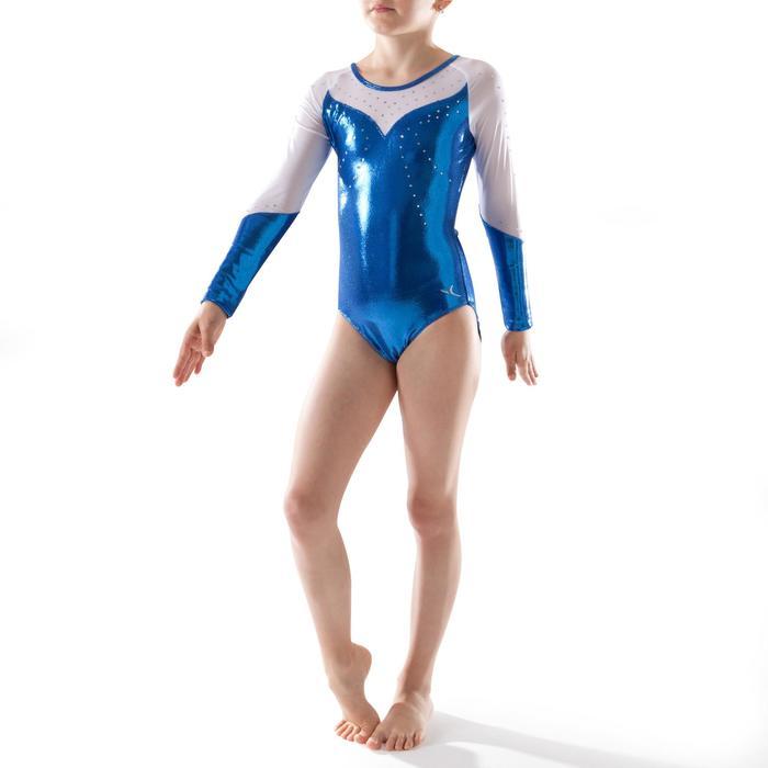 Justaucorps manches longues Gym Féminine (GAF) paillettes/strass/voile bleu. - 1222905