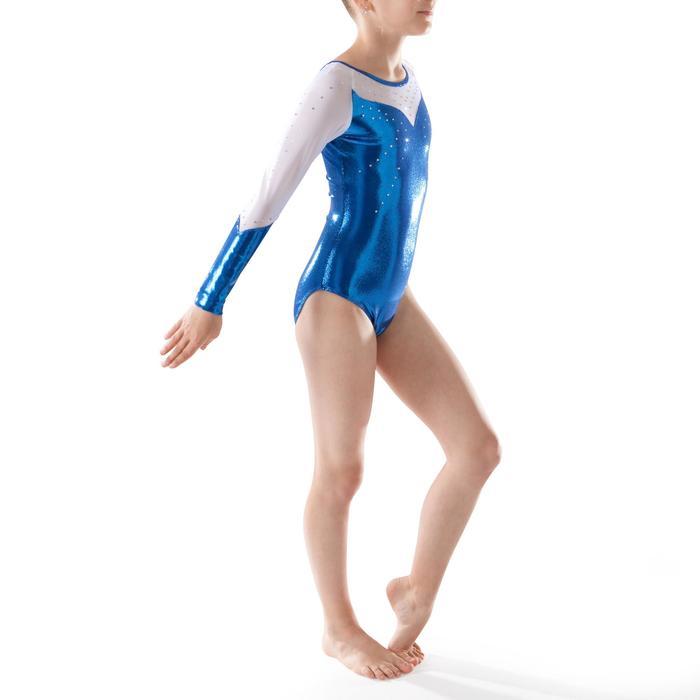 Justaucorps manches longues Gym Féminine (GAF) paillettes/strass/voile bleu. - 1222907
