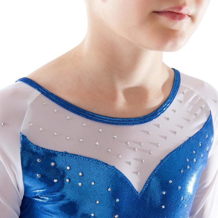 Maillot de manga larga gimnasia femenina (GAF) lentejuelas/estrás/gasa azul