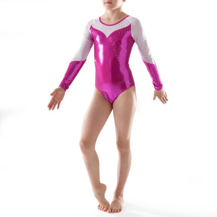 Maillot de manga larga gimnasia femenina (GAF) lentejuelas/estrás/gasa rosa