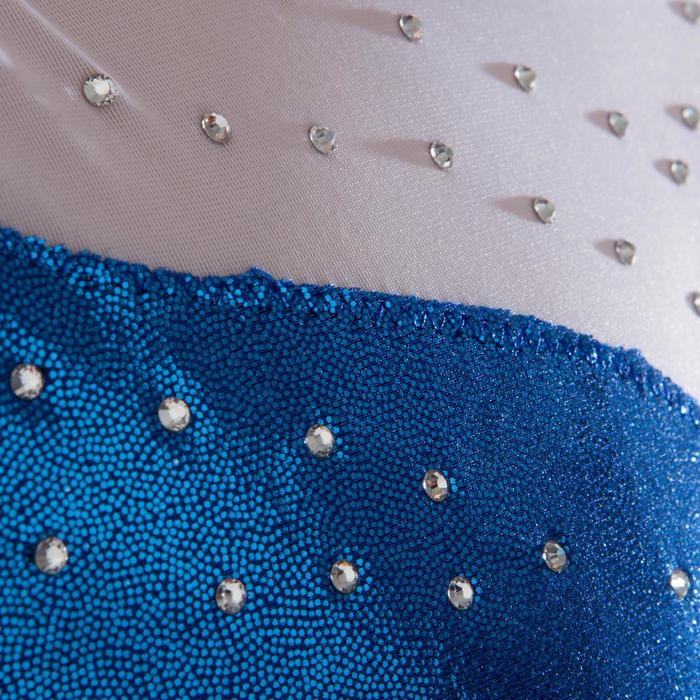Justaucorps manches longues Gym Féminine (GAF) paillettes/strass/voile bleu. - 1222956