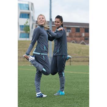 Chaqueta de entrenamiento de fútbol mujer T500 gris verde menta