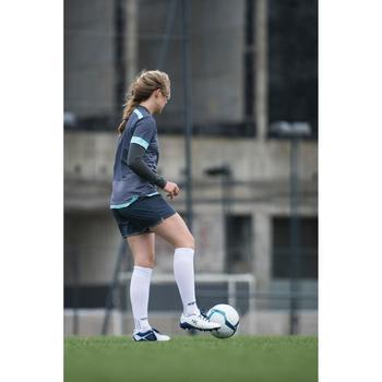 Short de football femme F500 gris menthe