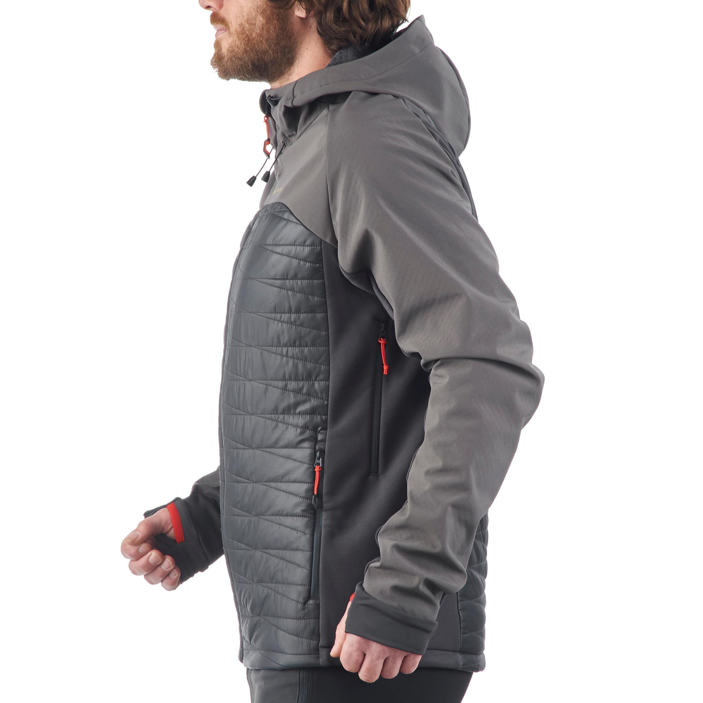 Men's TREK 900 HYBRID softshell grey mountain trekking jacket