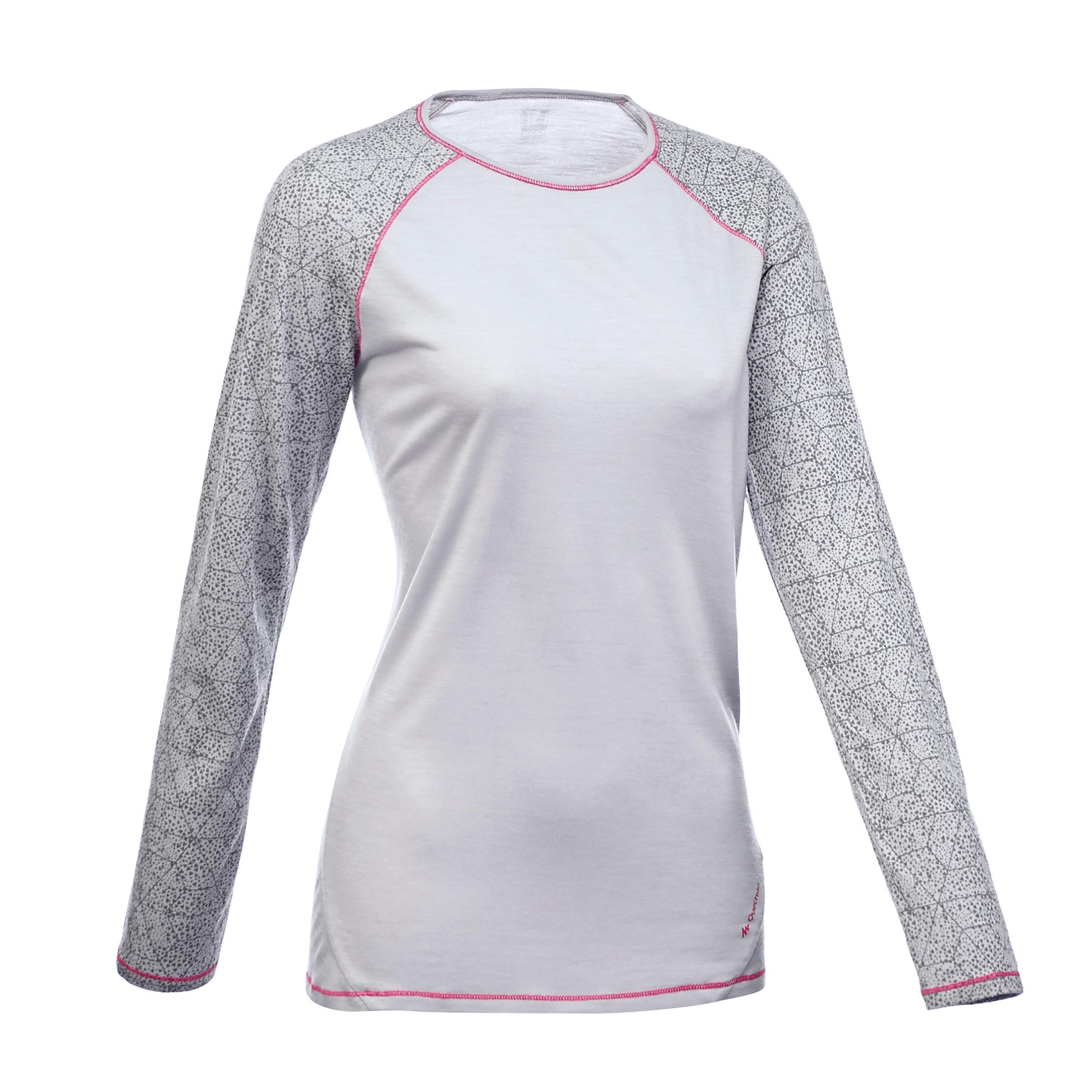 T-shirt manches longues randonnée montagne TREK 700 WOOL femme gris