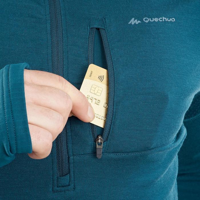 T-Shirt manches longues trekking montagne TREK900 mérinos homme bleu