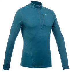 Heren T-shirt met lange mouwen voor bergwandelen Trek 900 merino wol blauw