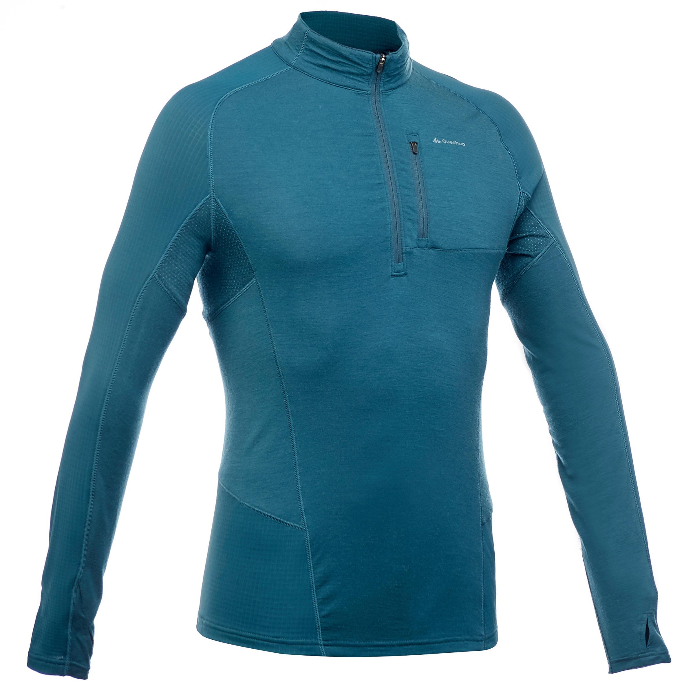 T-shirt manches longues randonnée montagne TREK 900 wool homme bleu