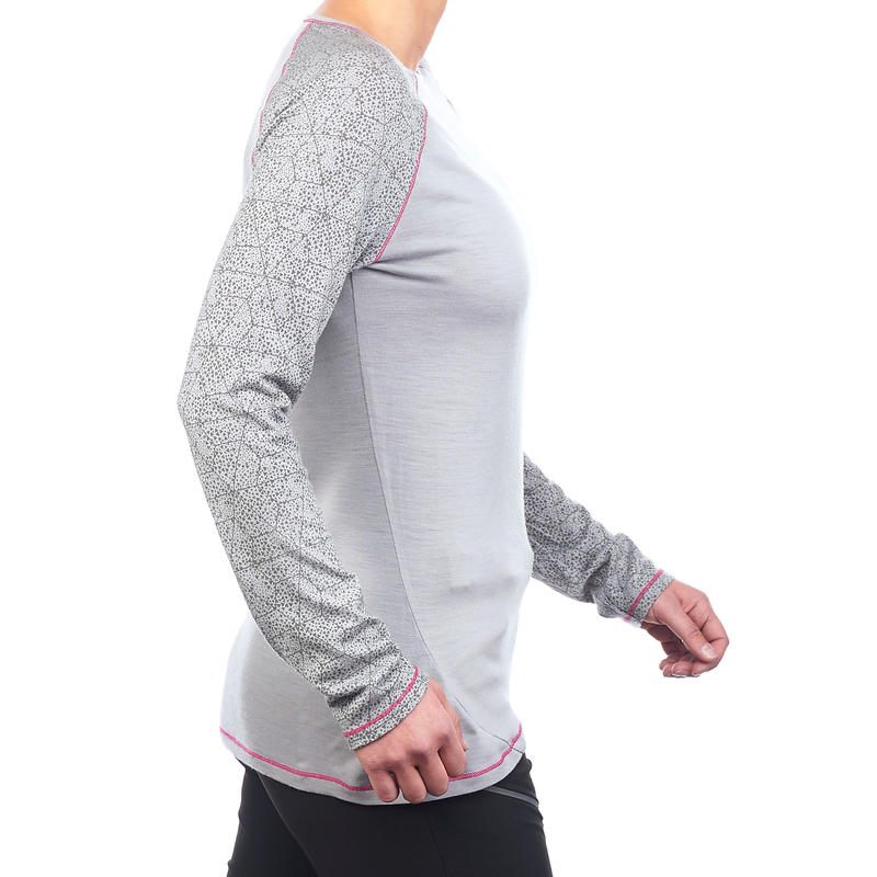 Women's Mountain Trekking Merino Wool Long-sleeved T-shirt Techwool 190 - Grey