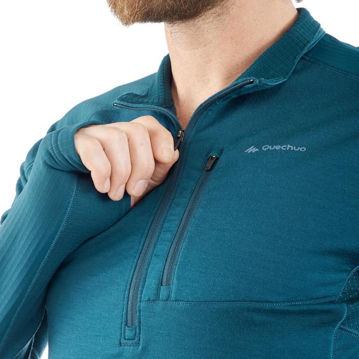 T-shirt met lange mouwen voor bergtrekking Trek 900 merinowol heren blauw