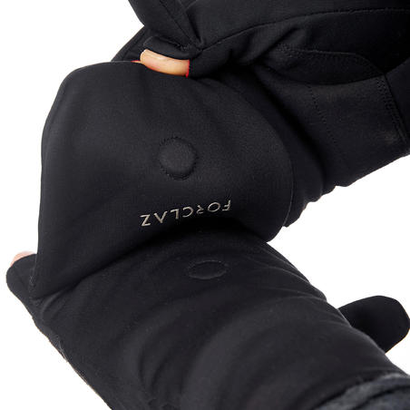 Trek 500 Mountain Trekking Fingerless Mittens - Black