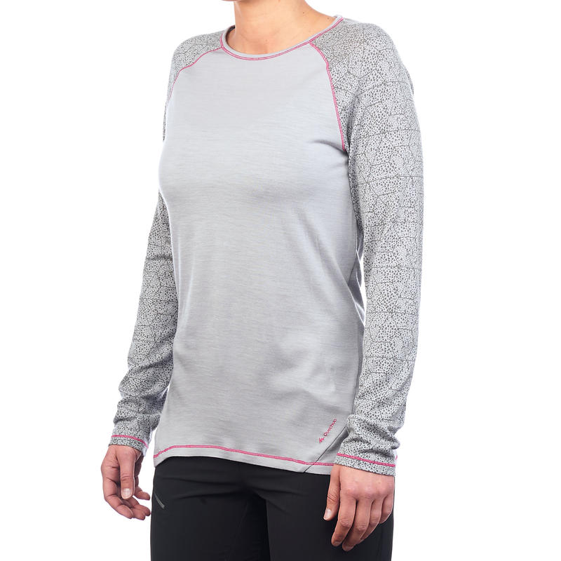 เสื้อยืดเพื่อการเทรคกิ้งบนภูเขาแขนยาวสำหรับผู้หญิงรุ่น Techwool190 (สีเทา)