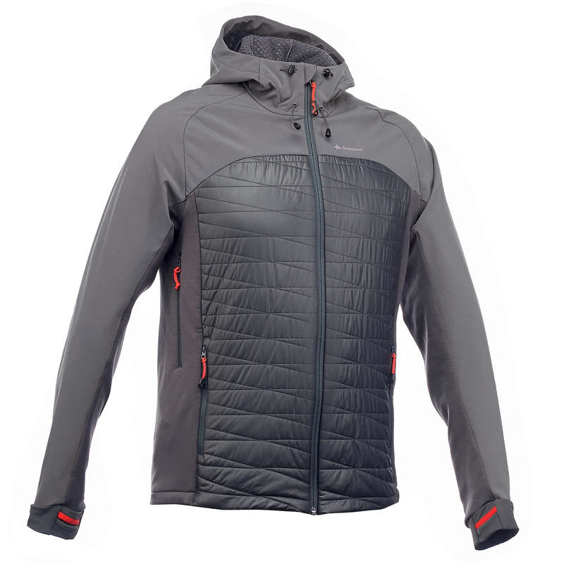 MEN SOFTSHELL, WINDBREAKER MT - TREK900 JACKET HYBRID M GREY QUECHUA