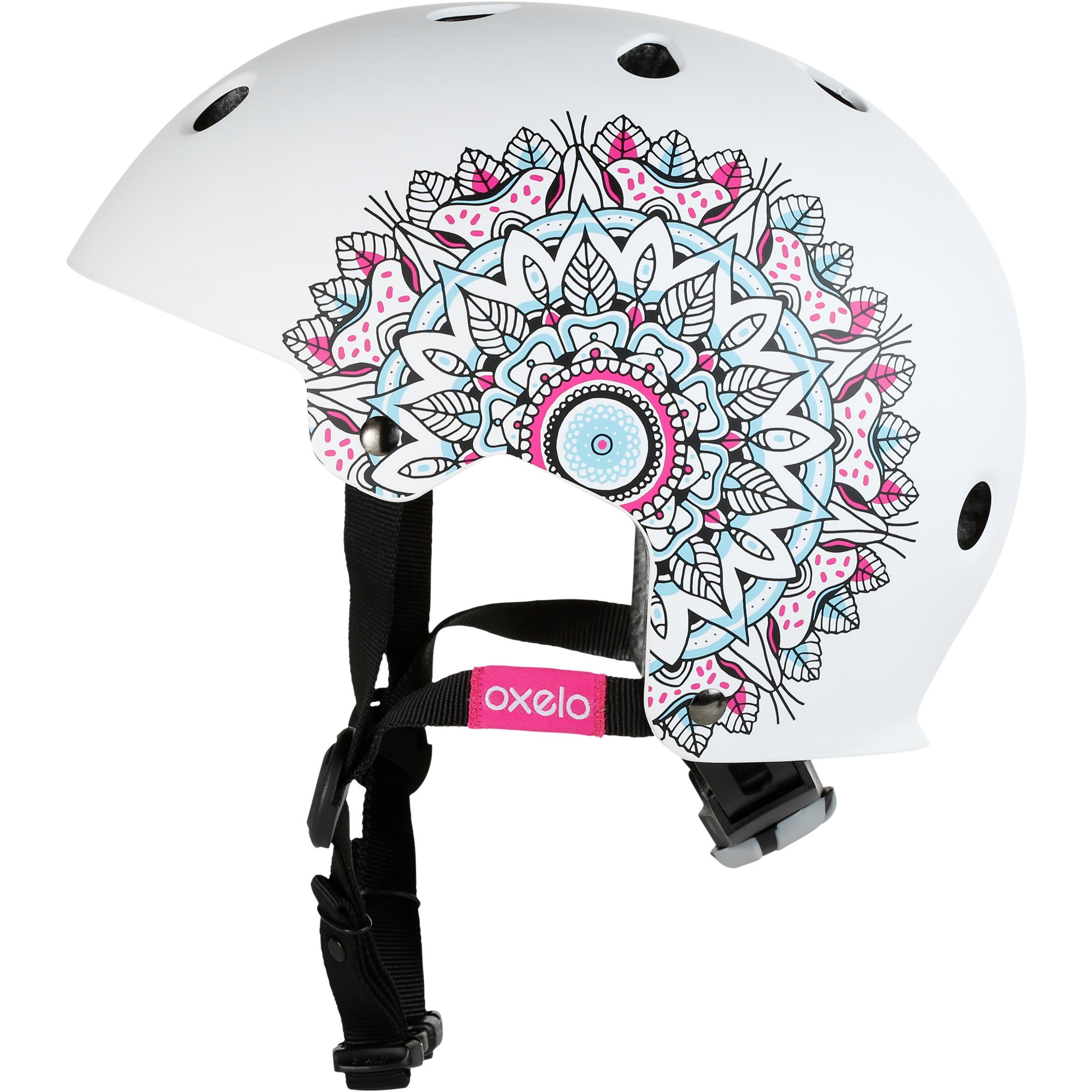Casque patin roulettes, planche roulettes, trottinette, vélo PLAY7 Mandala blanc