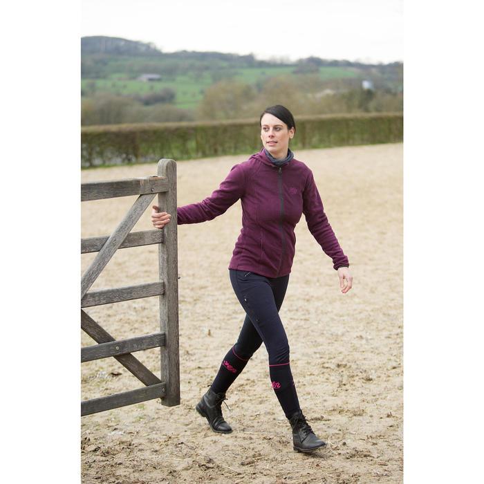 Pantalon chaud équitation femme VICTORIA fond de peau bleu marine - 1223836