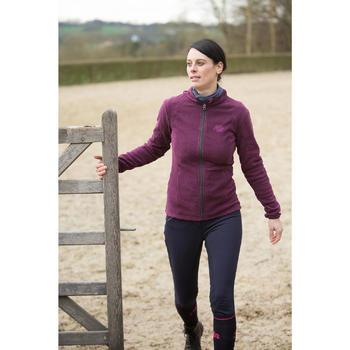 Pantalon chaud équitation femme VICTORIA fond de peau bleu marine - 1224084