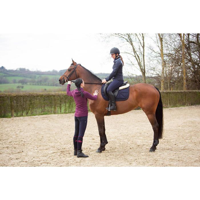 Pantalon chaud équitation femme VICTORIA fond de peau bleu marine - 1224151