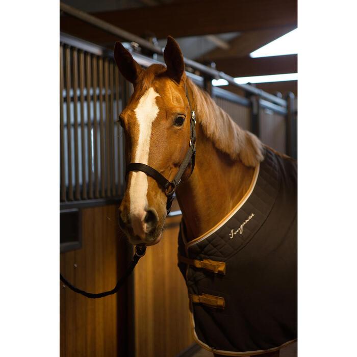 Manta ligera de cuadra equitación poni y caballo POLAR 500 gris oscuro