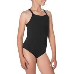 Bañador de natación una pieza niña resistente al cloro Jade negro