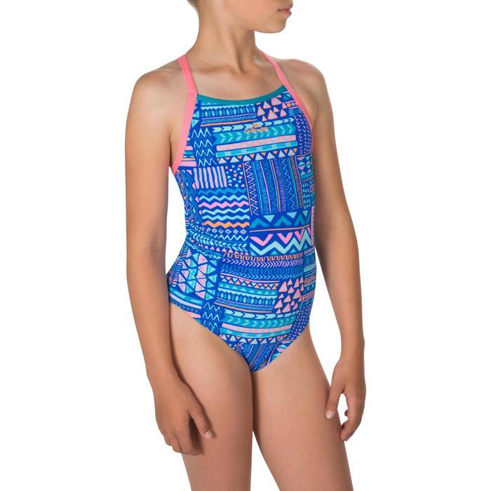 Maillot de bain de natation une pièce fille résistant au chlore Jade bleu
