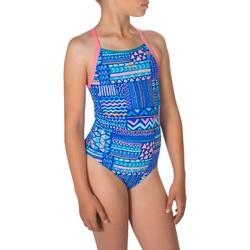 Bañador de natación una pieza para niña, resistente al cloro Jade Azul