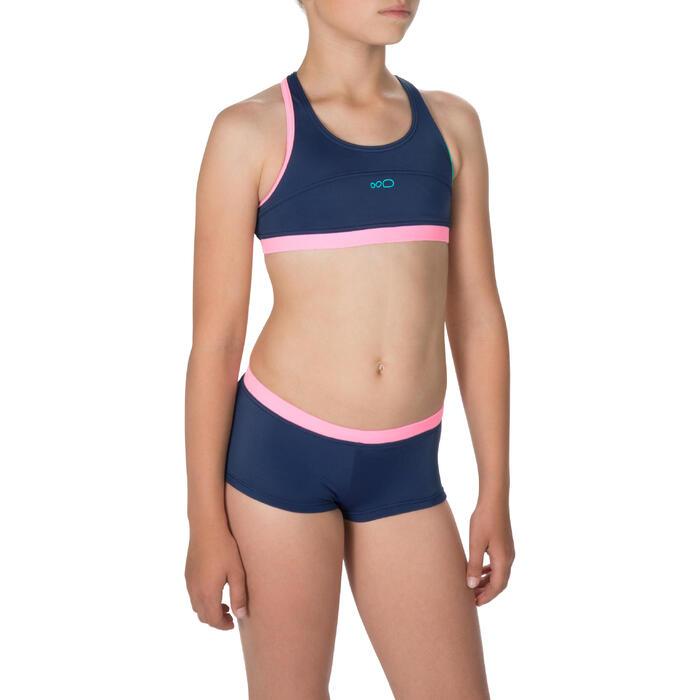 Bikini Shorty Leony Mädchen Blaurosa Nabaiji Decathlon