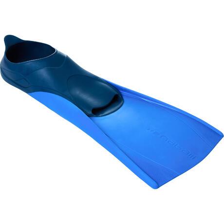 palmes natation longues trainfins bleu fonce bleu nabaiji