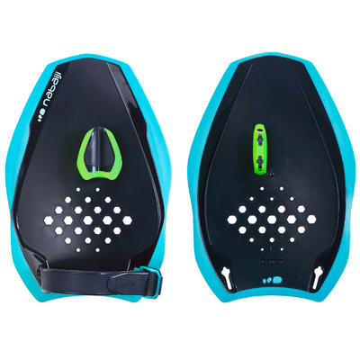 500 QUICK'IN 500 SWIMMING PADDLES, SIZE M - BLUE GREEN