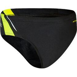 Zwemslip voor jongens 900 Yoke zwart geel